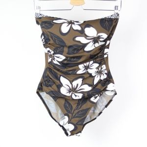 🍁 Tommy Bahamas Womens Swimsuit Strapless Floral